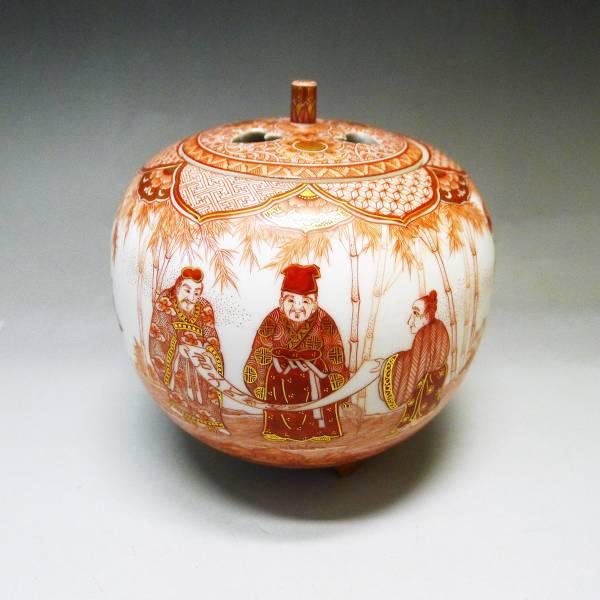 九谷焼の買取ならジャムルK白山市店 買取品のご紹介は福島武山作 赤絵竹林七賢人之図 佐野窯 香炉です